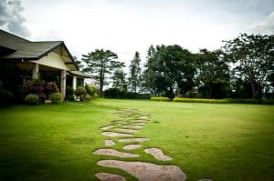 home with stone path